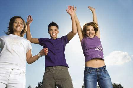 spiked hair: Three teenage friends LANG_EVOIMAGES
