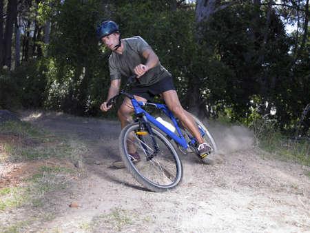 mountain biking: Young man mountain biking
