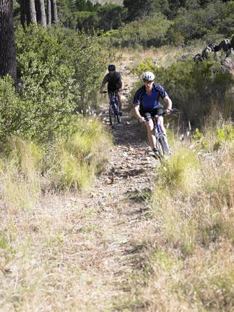 mountain biking: Two men mountain biking