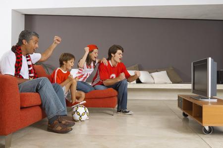 TV에서 스포츠 경기를 시청하는 가족 스톡 콘텐츠
