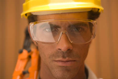 protective eyewear: Portrait of a dock worker wearing protective eyewear
