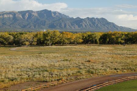 Road near and forest near Sandia mountains,New Mexico,USA Banco de Imagens