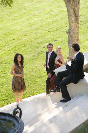 western european ethnicity: Four friends having drinks on steps by lawn, smiling, elevated view LANG_EVOIMAGES