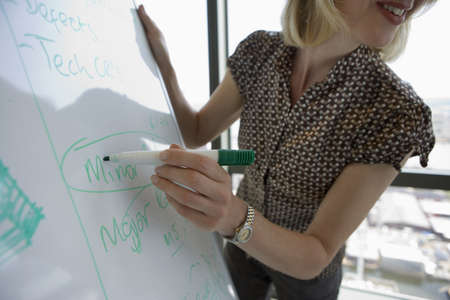 waistup: Businesswoman giving presentation, circling word on whiteboard with pen, close-up, side view