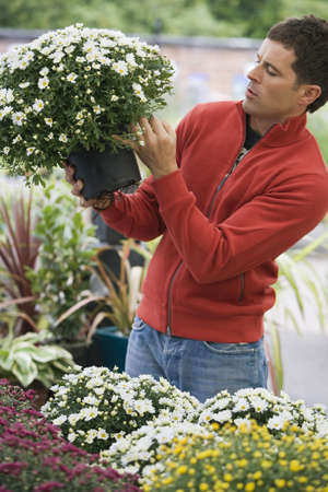 western european ethnicity: Man in red top shopping for flowers in garden centre, looking at pot plant, side view