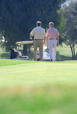 mature men: Two mature men leaving putting green on golf course, approaching parked golf buggy in mid-distance, rear view, focus on background LANG_EVOIMAGES