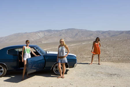 elevated view: Small group of friends by car in desert, looking at view, elevated view LANG_EVOIMAGES