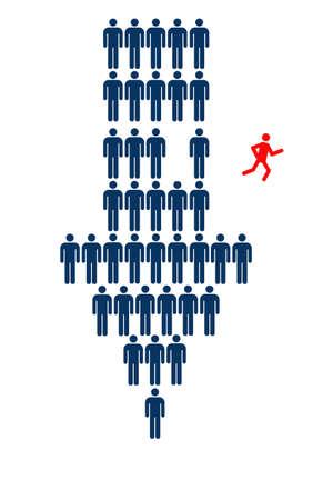 determines: Persona fuga dalla freccia verso il basso formata da persone simboli LANG_EVOIMAGES