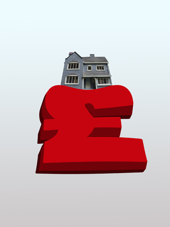verticals: House weighing down British pound symbol LANG_EVOIMAGES