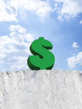 attempted: Dollar sign on edge of cliff