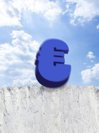 attempted: Euro symbol falling from edge of cliff