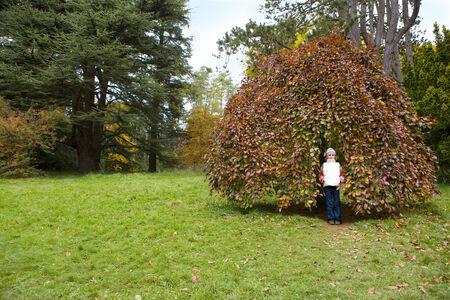 tetbury: Portrait of girl standing against tree in park LANG_EVOIMAGES