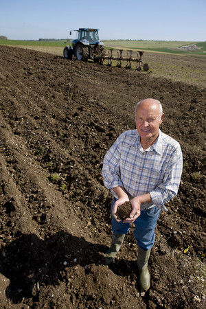 cupping: Farmer cupping soil in ploughed field with tractor and plough in background