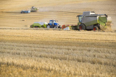 baler: Combine harvesting wheat and straw baler in field
