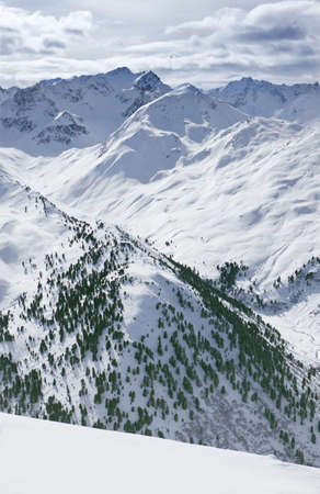 the mountain range: View of snowy mountain range