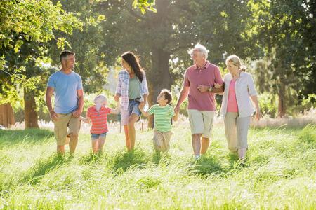 walk in: Multi-Generation Family Enjoying Walk In Beautiful Countryside