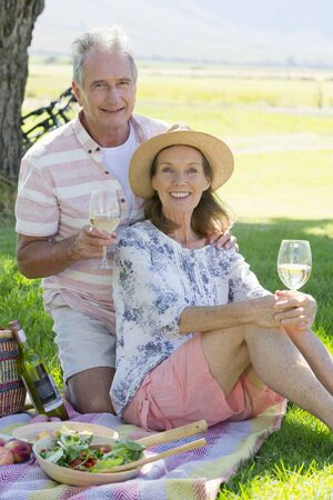 frolicking: Senior couple drinking wine laying on picnic blanket