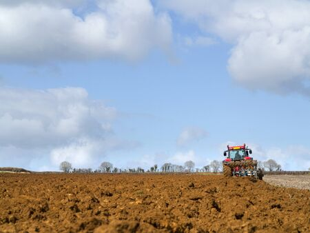 ploughing field: Red tractor ploughing field