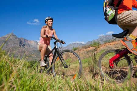 mountain biking: Family mountain biking on country track