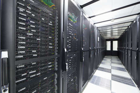 server farm: Servers in storage cabinets in data center