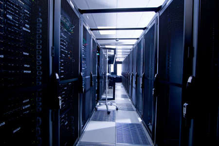 colocation: Computer, with Servers in storage cabinets in data center