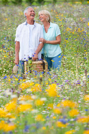 picnicking: Smiling senior couple carrying picnic basket through field of wildflowers