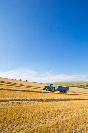 Tractor pulling trailer in sunny rural field LANG_EVOIMAGES