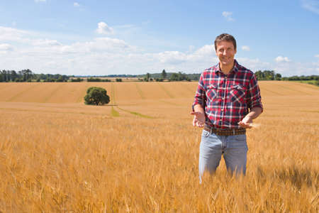 Portrait confident farmer in sunny rural barley crop field in summer