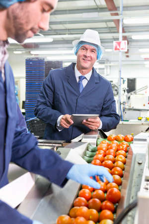 grower: Portrait confident quality control worker with digital tablet inspecting ripe red tomatoes on production line in food processing plant LANG_EVOIMAGES