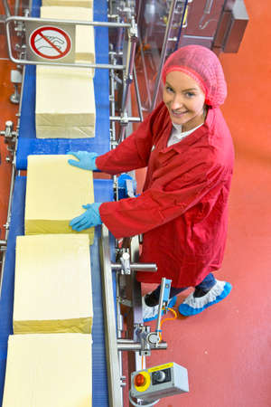 woman handle success: High angle view portrait smiling quality control worker at production line in cheese processing plant LANG_EVOIMAGES