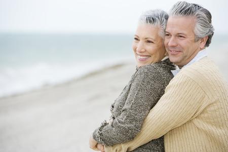 A senior couple on a beach Stock Photo