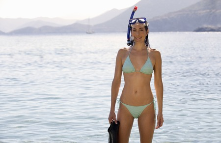 explored: A woman snorkeling in the sea