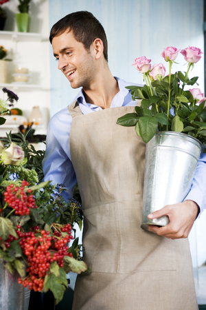 Male florist in his shop, holding a pot of pink roses Stock Photo