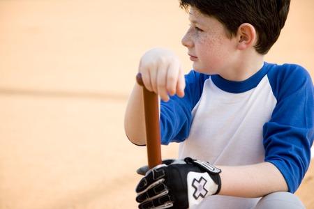 mitt: Boy with baseball bat kneeling