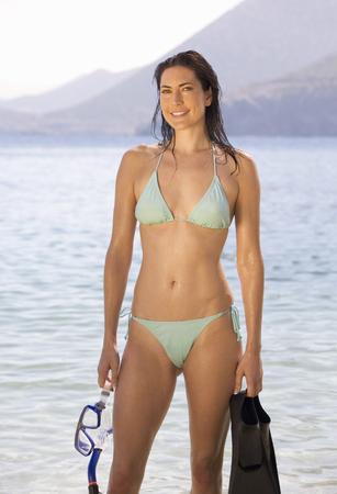 A woman snorkeling Stock Photo