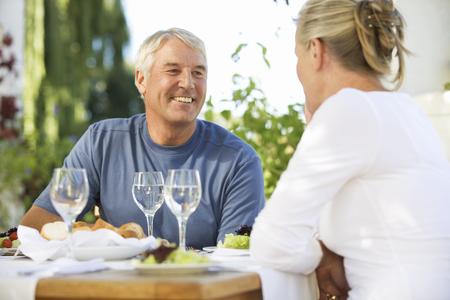 A senior couple at a restaurant Stock fotó