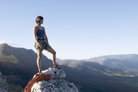 A climber at the top Stock Photo