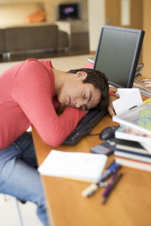 learnt: A teenage boy asleep at a computer LANG_EVOIMAGES