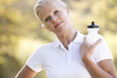 A senior woman keeping fit