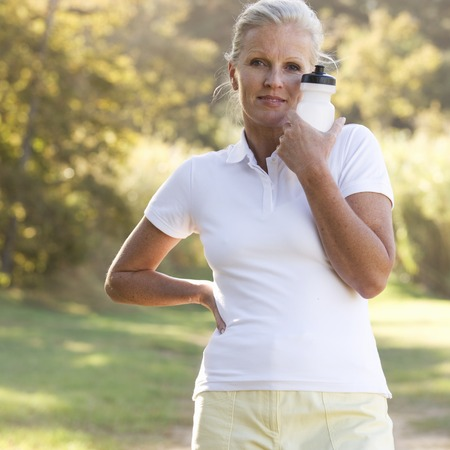 keeping fit: A senior woman keeping fit