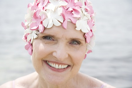 Senior woman in a swimming hat
