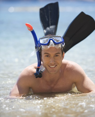 explored: A man snorkeling