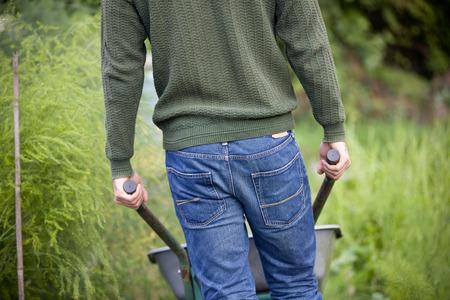 carretilla: Un hombre que empuja una carretilla en una asignación, de visión trasera