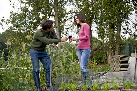 A young couple on an allotment taking a break, drinking wine Imagens