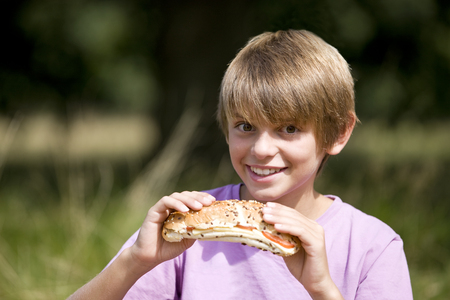 lunchtime: A young boy eating a sandwich