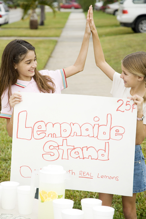 front raise: Two young girls at a lemonade stand