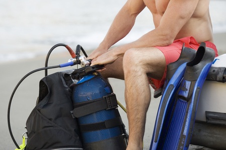 A male scuba diver