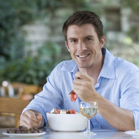 A man eating a meal