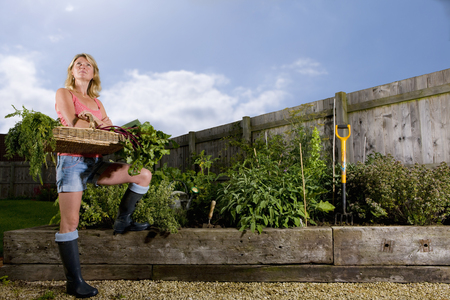 Woman standing in organic garden holding basket of vegetables Stock Photo