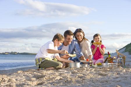 Family having barbecue picnic on sandy beach Фото со стока - 119569653